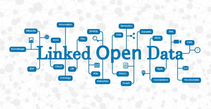 Concepto ligado de Open Data con el gráfico del conocimiento en el fondo stock de ilustración