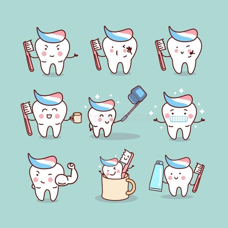 Concepto lindo del cepillo de dientes de la historieta stock de ilustración