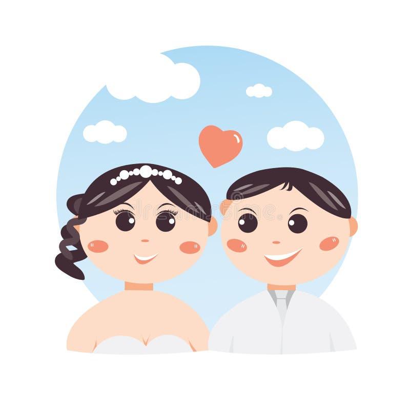 Concepto lindo del diseño de carácter de la boda de la historieta de los pares, dulce y romántico, ilustración del vector