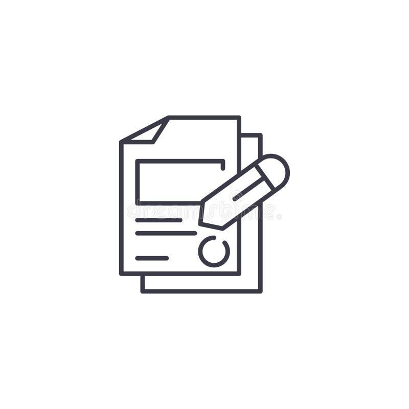 Concepto linear de firma del icono de los documentos Firmando documenta la línea muestra del vector, símbolo, ejemplo ilustración del vector