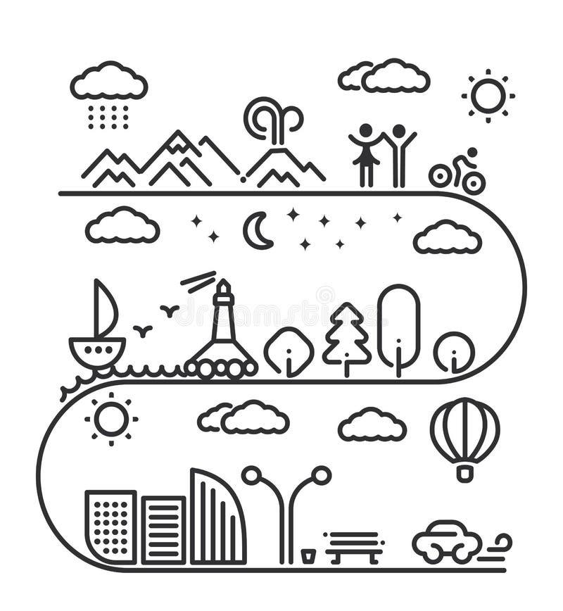 Concepto linear de los elementos del paisaje stock de ilustración