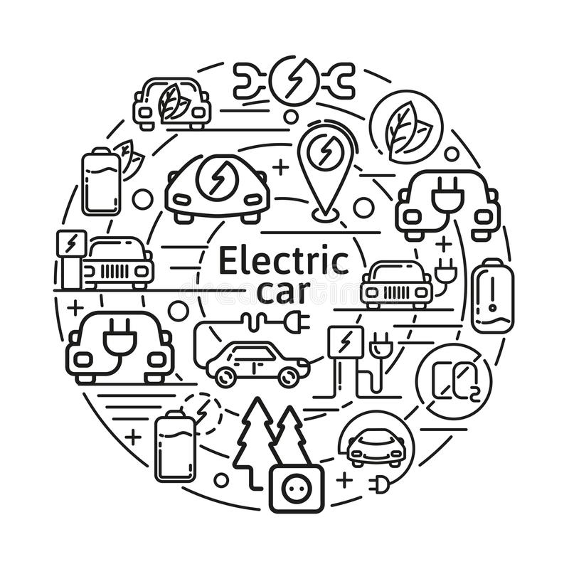 Concepto linear de los iconos del vector del coche eléctrico Elementos de la energía de Eco en la línea fina diseño stock de ilustración