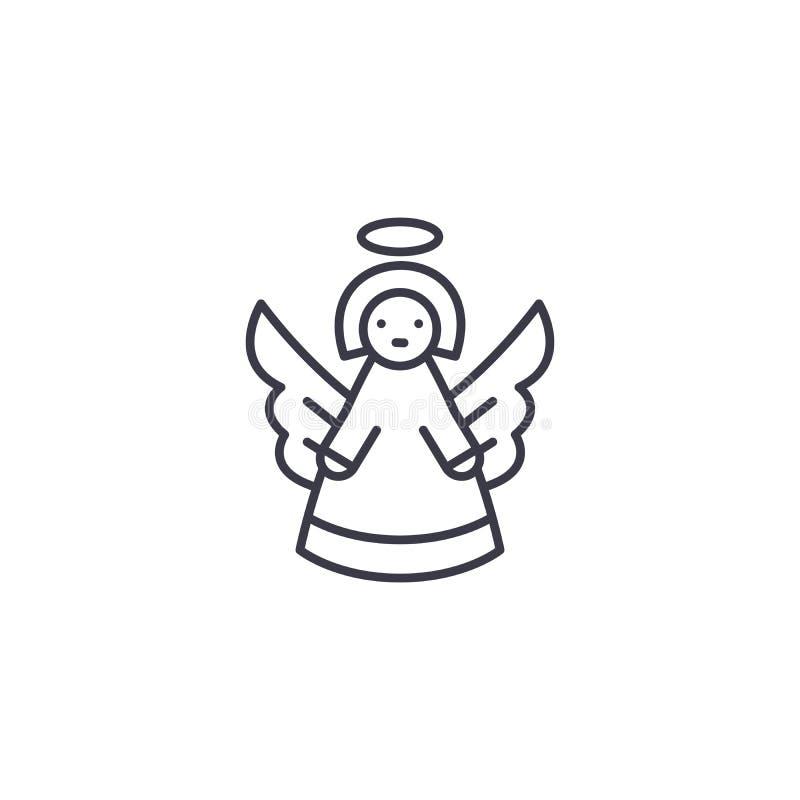 Concepto linear del icono del ángel Línea muestra del vector, símbolo, ejemplo del ángel libre illustration