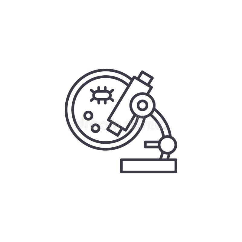 Concepto linear del icono del análisis microscópico Línea muestra del vector, símbolo, ejemplo del análisis microscópico stock de ilustración