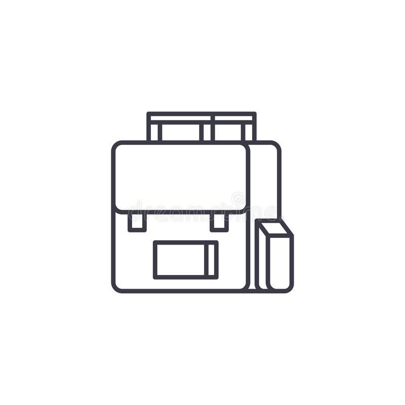 Concepto linear del icono del bolso de escuela Línea muestra del vector, símbolo, ejemplo del bolso de escuela ilustración del vector