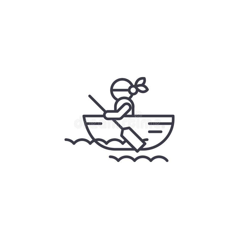 Concepto linear del icono del bote Línea muestra del vector, símbolo, ejemplo del bote ilustración del vector