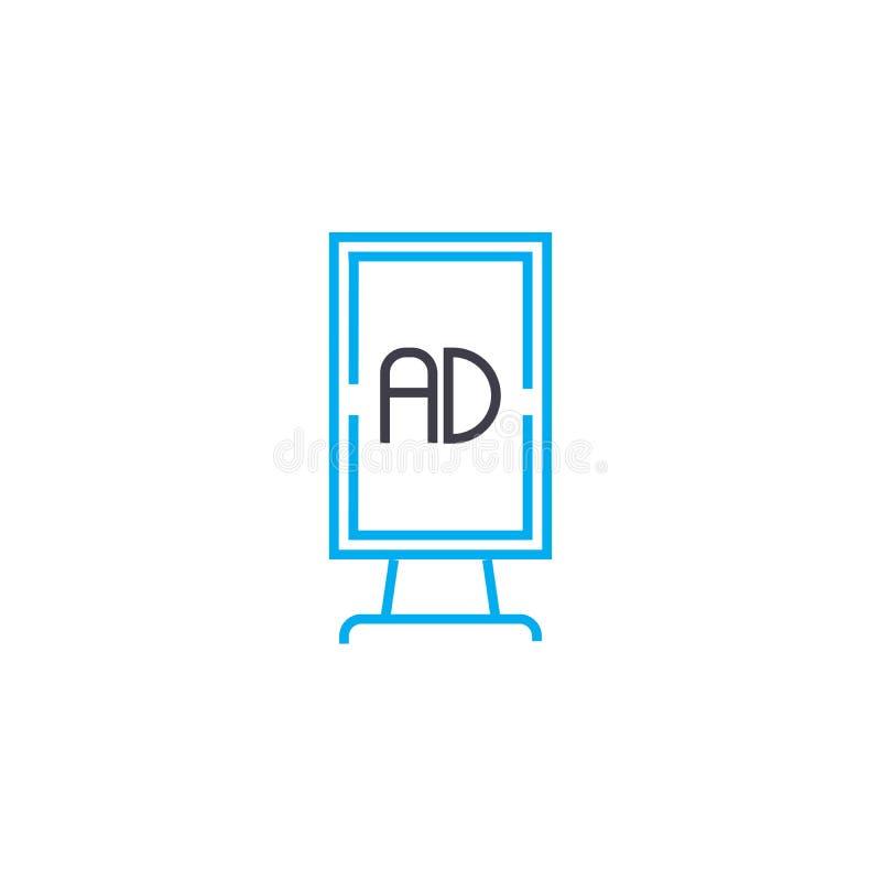 Concepto linear del icono del cartel de la publicidad Línea muestra del vector, símbolo, ejemplo del cartel de la publicidad stock de ilustración