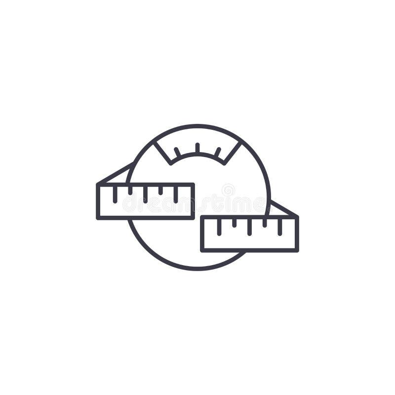 Concepto linear del icono del control de peso Línea de control de peso muestra del vector, símbolo, ejemplo ilustración del vector