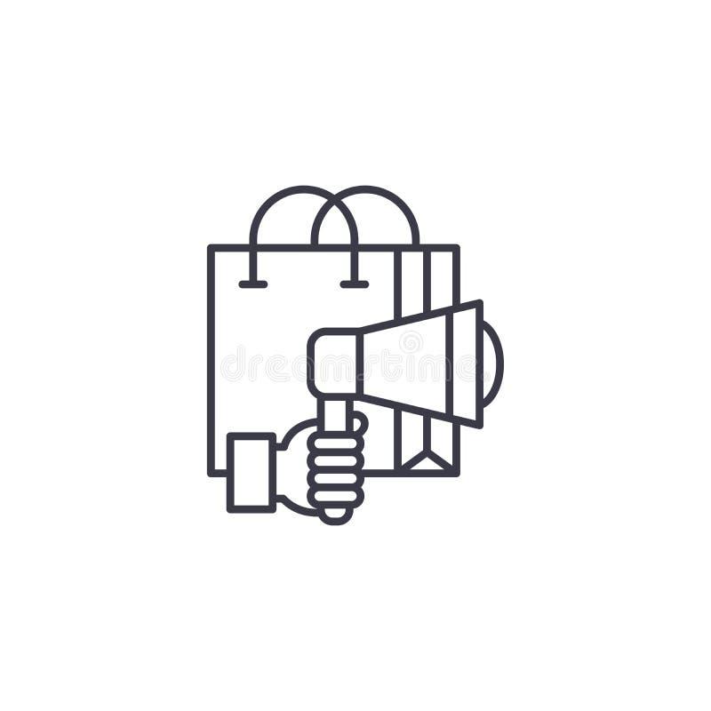 Concepto linear del icono de la campaña de marketing Línea muestra del vector, símbolo, ejemplo de la campaña de marketing ilustración del vector