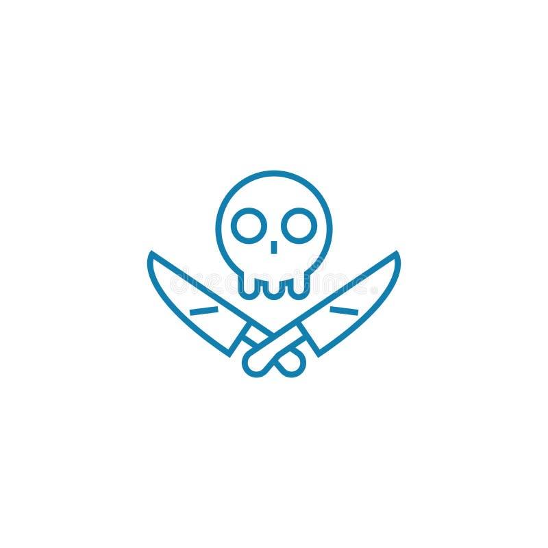 Concepto linear del icono de la criminalidad Línea muestra del vector, símbolo, ejemplo de la criminalidad libre illustration