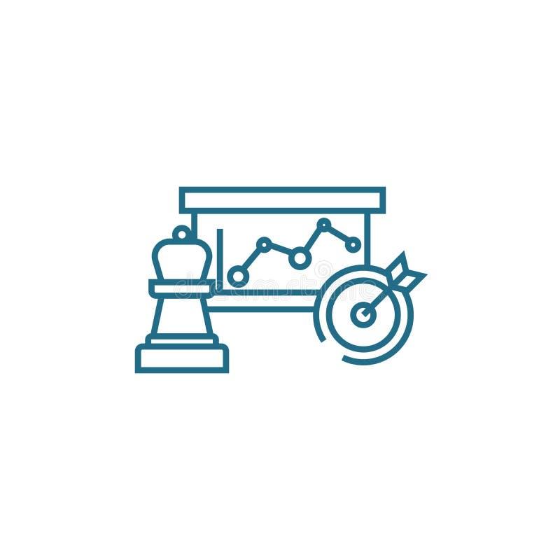 Concepto linear del icono de la estrategia de marketing Línea muestra del vector, símbolo, ejemplo de la estrategia de marketing ilustración del vector