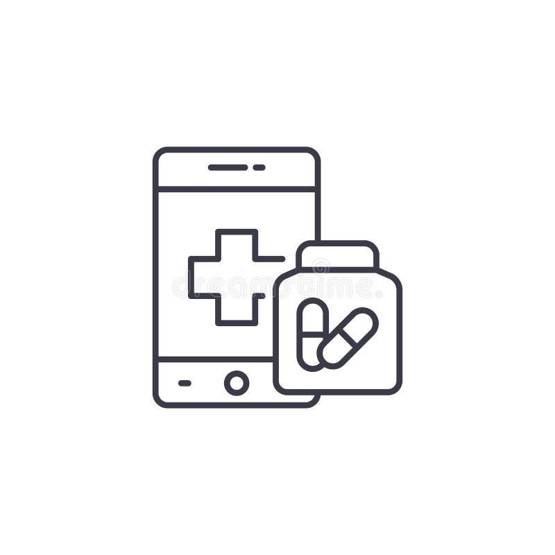 Concepto linear del icono de la farmacia en línea Línea en línea muestra del vector, símbolo, ejemplo de la farmacia stock de ilustración