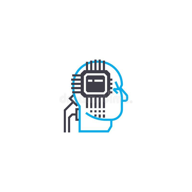Concepto linear del icono de la inteligencia artificial Línea muestra del vector, símbolo, ejemplo de la inteligencia artificial ilustración del vector