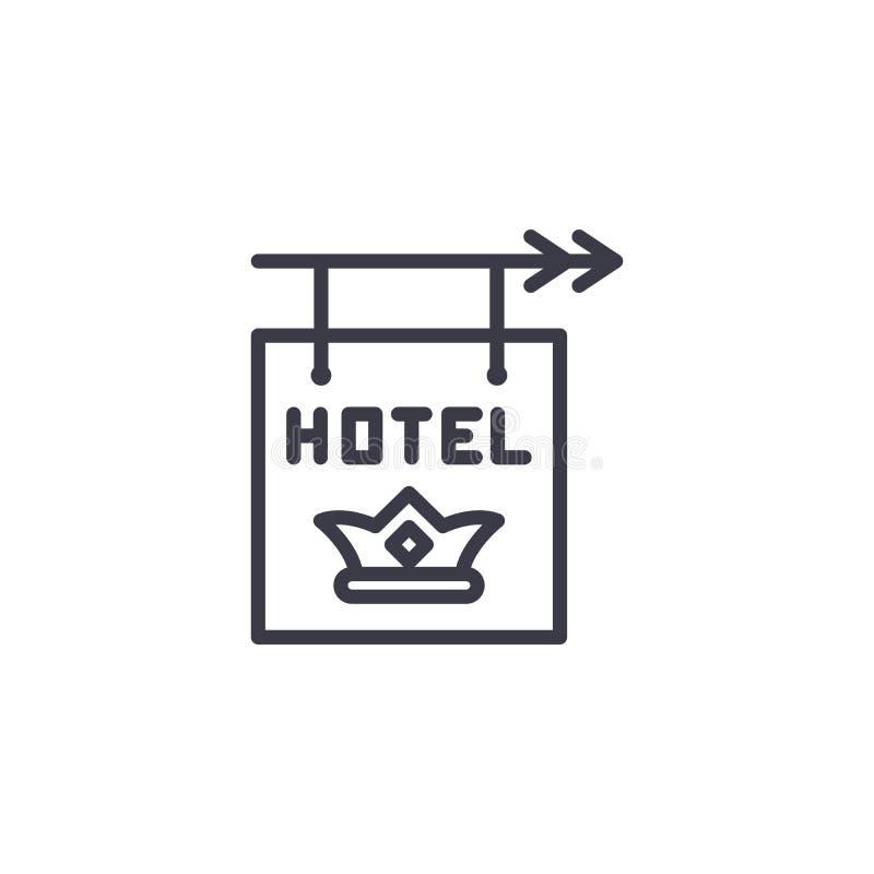 Concepto linear del icono de la muestra del hotel Línea muestra del vector, símbolo, ejemplo de la muestra del hotel libre illustration