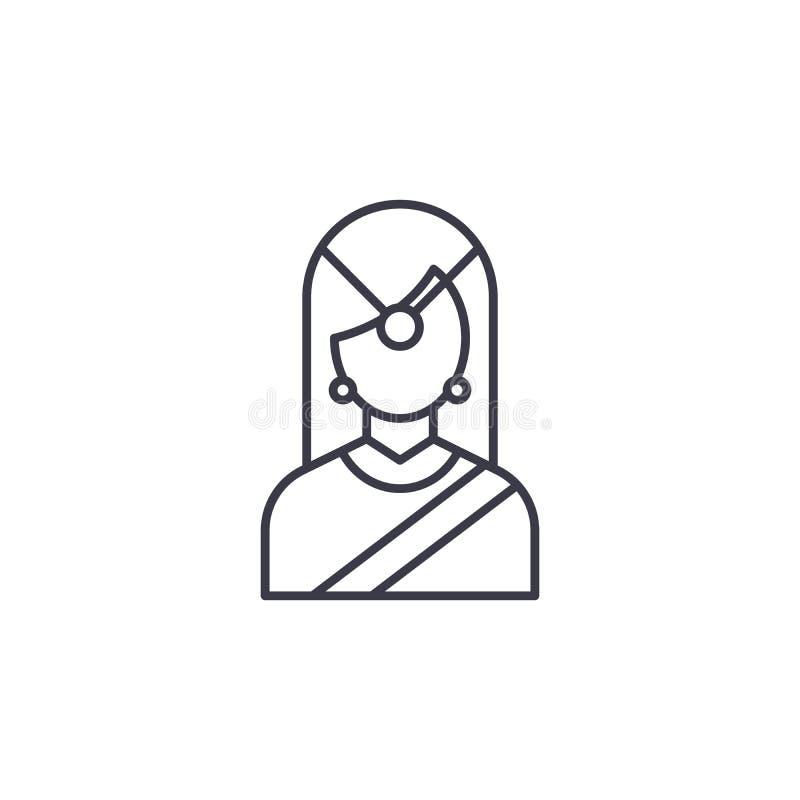 Concepto linear del icono de la mujer tradicional india Línea tradicional india muestra del vector, símbolo, ejemplo de la mujer stock de ilustración