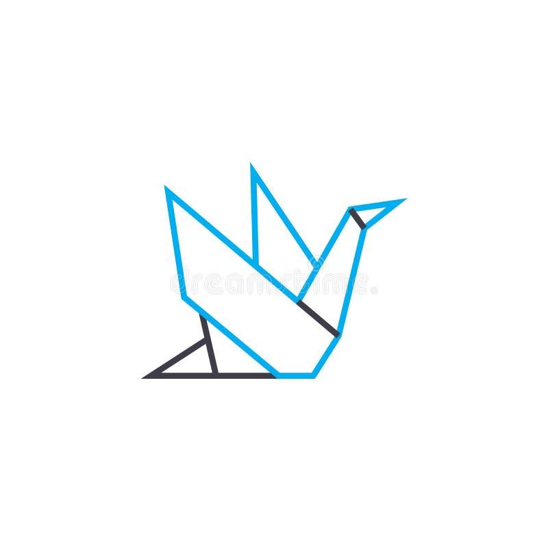 Concepto linear del icono de la papiroflexia La papiroflexia alinea la muestra del vector, símbolo, ejemplo stock de ilustración