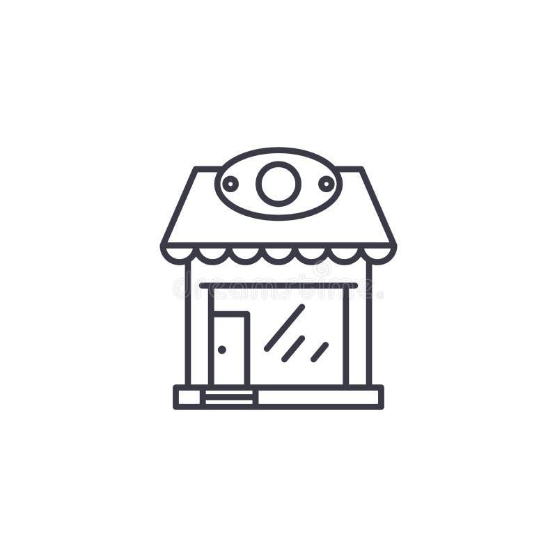 Concepto linear del icono de la tienda al por menor Línea muestra del vector, símbolo, ejemplo de la tienda al por menor ilustración del vector