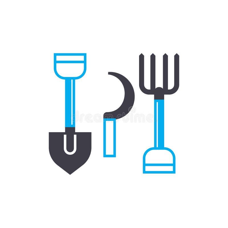Concepto linear del icono de las herramientas agrícolas Las herramientas agrícolas alinean la muestra del vector, símbolo, ejempl stock de ilustración
