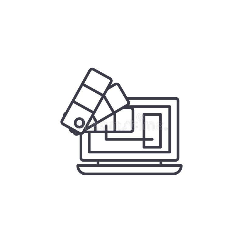 Concepto linear del icono de los elementos claves Los elementos claves alinean la muestra del vector, símbolo, ejemplo ilustración del vector