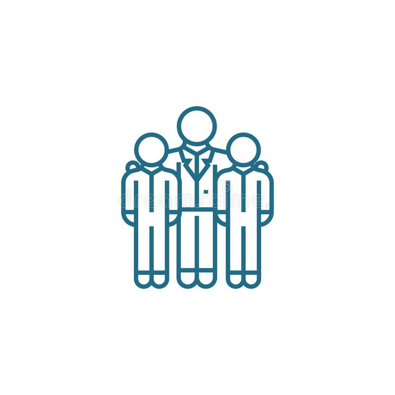Concepto linear del icono de los empleados encouraging Los empleados encouraging alinean la muestra del vector, símbolo, ejemplo stock de ilustración