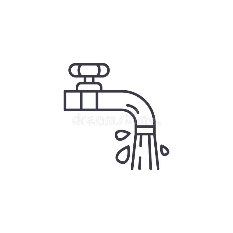 Concepto linear del icono de los golpecitos de agua Los golpecitos de agua alinean la muestra del vector, símbolo, ejemplo libre illustration