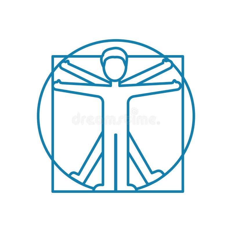 Concepto linear del icono del ejercicio físico Línea muestra del vector, símbolo, ejemplo del ejercicio físico stock de ilustración