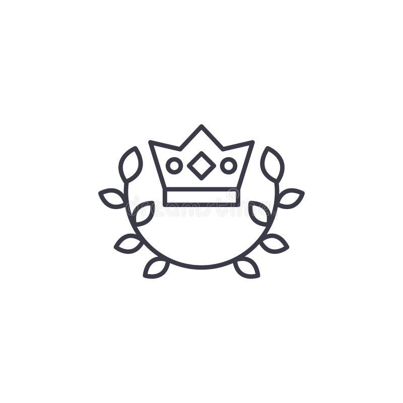 Concepto linear del icono del emblema real de la corona Línea real muestra del vector, símbolo, ejemplo del emblema de la corona stock de ilustración