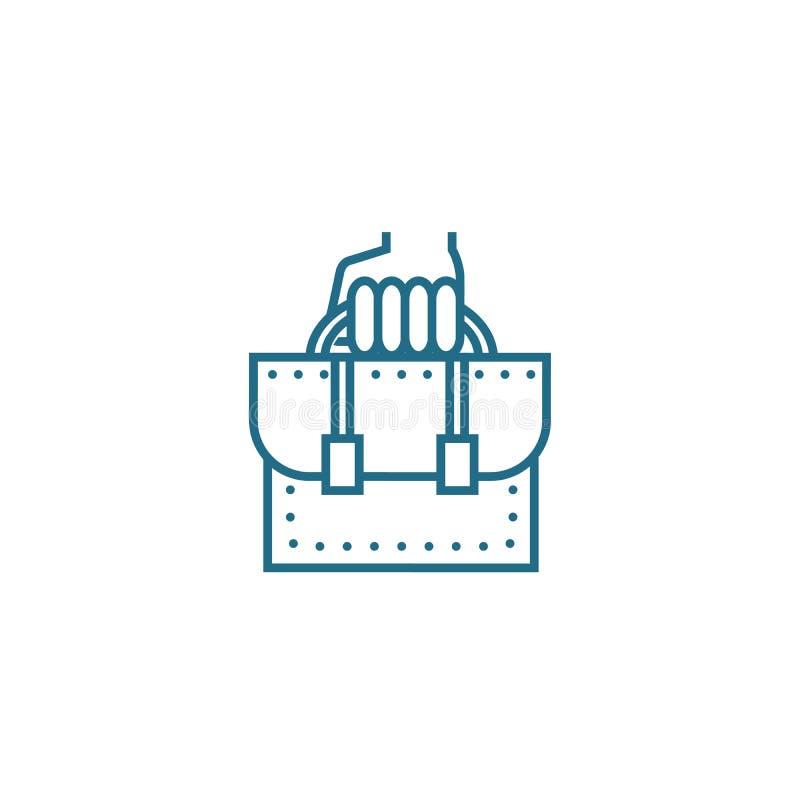Concepto linear del icono del empleado de oficina Línea muestra del vector, símbolo, ejemplo del empleado de oficina ilustración del vector