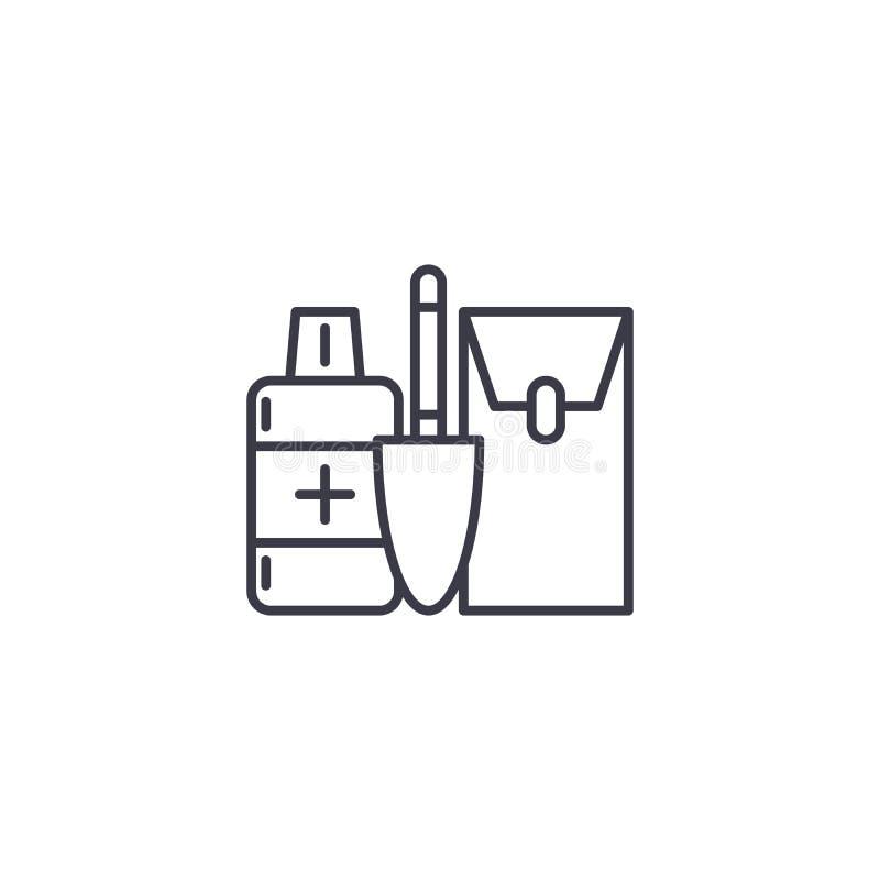 Concepto linear del icono del equipo del maquillaje Línea muestra del vector, símbolo, ejemplo del equipo del maquillaje ilustración del vector