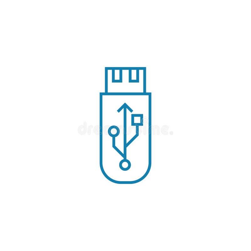 Concepto linear del icono del palillo del Usb Línea muestra del vector, símbolo, ejemplo del palillo del Usb stock de ilustración