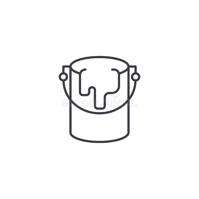 Concepto linear del icono del pote de pintura Línea muestra del vector, símbolo, ejemplo del pote de pintura ilustración del vector
