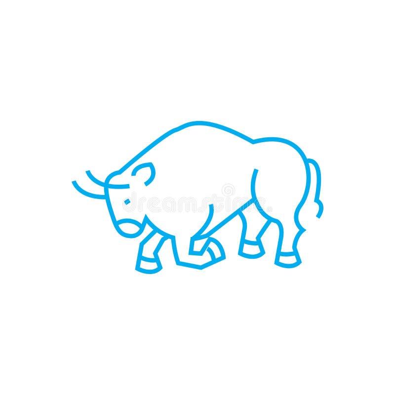 Concepto linear del icono del toro que lucha El toro que lucha alinea la muestra del vector, símbolo, ejemplo ilustración del vector