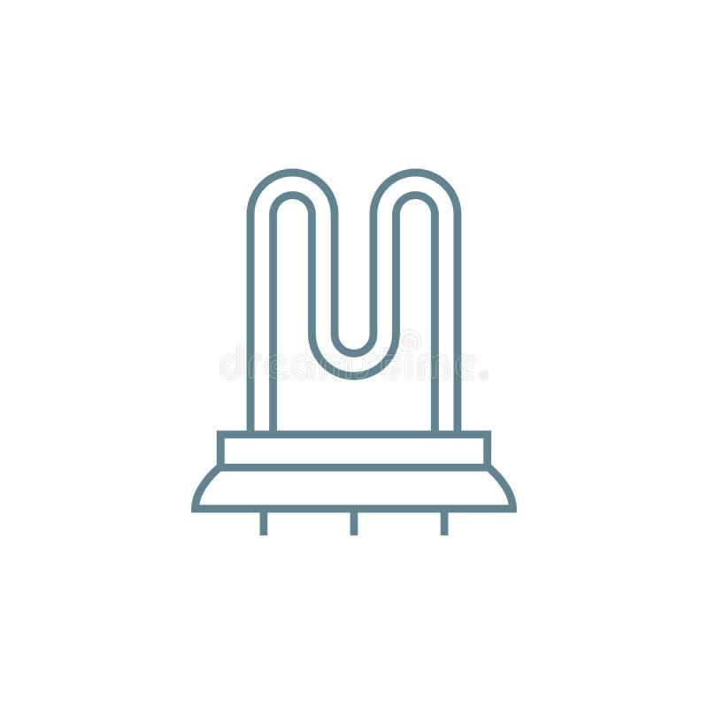 Concepto linear heated del icono del carril de toalla Muestra heated del vector del tren de la toalla, símbolo, ejemplo stock de ilustración