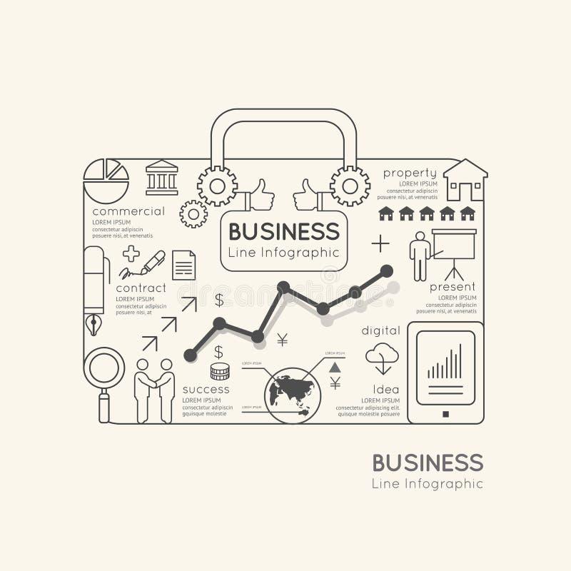 Concepto linear plano del esquema del bolso del comercio mundial de Infographic ilustración del vector