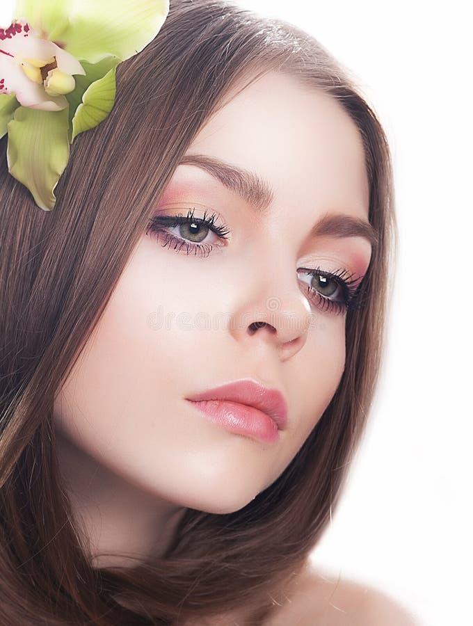 Concepto liso limpio de la belleza. Maquillaje natural. imagenes de archivo