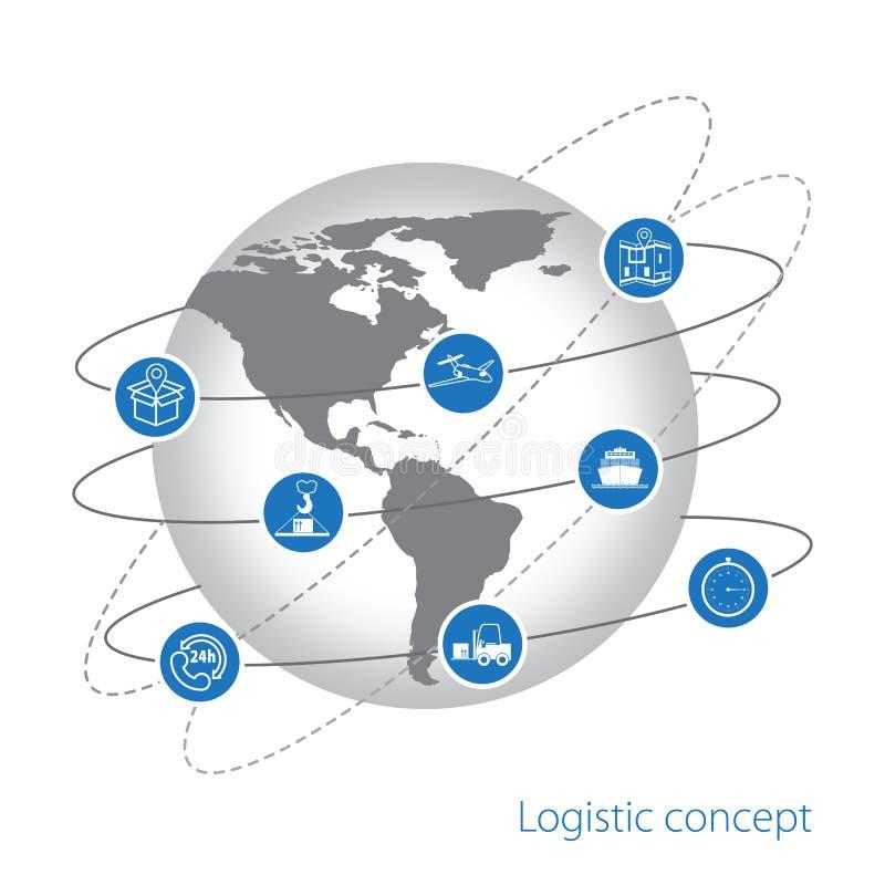 Concepto logístico Sistema de iconos planos de la logística stock de ilustración