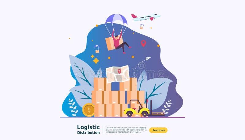concepto log?stico global del ejemplo del servicio de distribuci?n bandera mundial del env?o de las importaciones/exportaciones d libre illustration