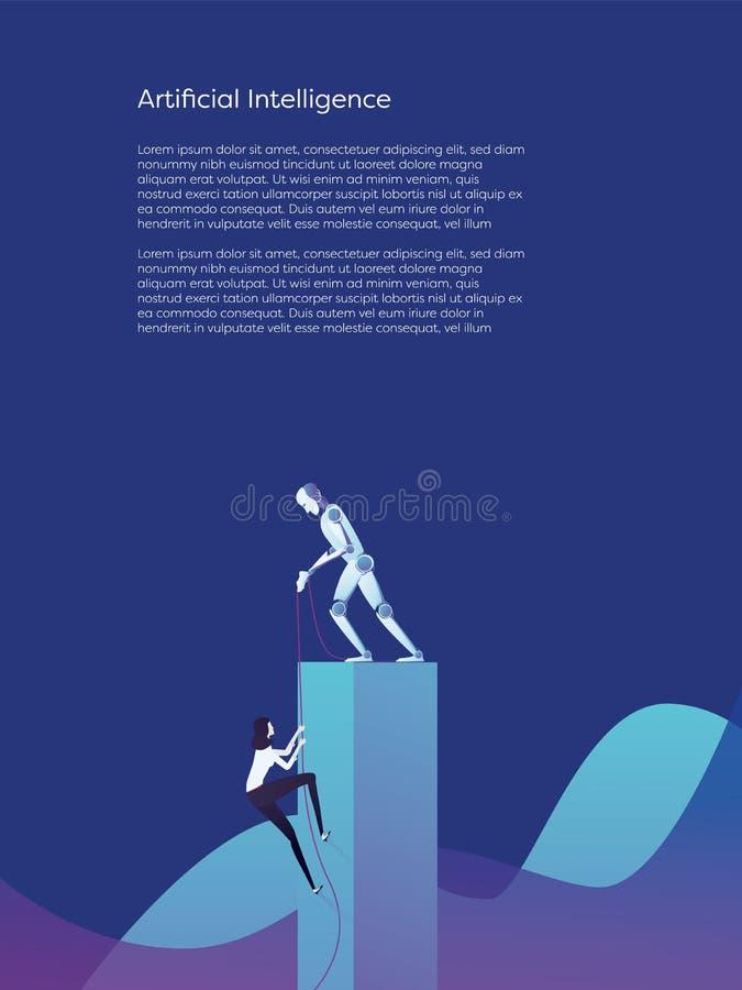 Concepto más alto de ayuda del vector de la subida de la mujer del robot de la inteligencia artificial Símbolo de la ayuda, de la stock de ilustración