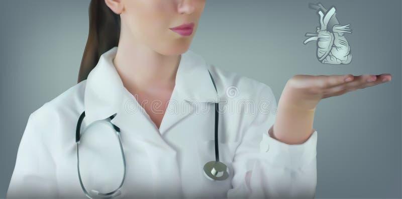 Concepto médico con el doctor de sexo femenino en la capa blanca ilustración del vector
