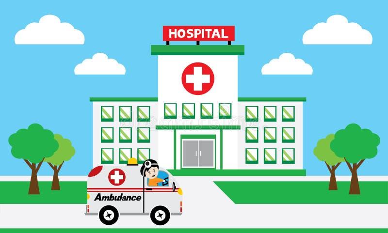 Concepto médico con los edificios del hospital stock de ilustración