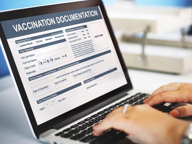 Concepto médico de la documentación de la vacunación imágenes de archivo libres de regalías