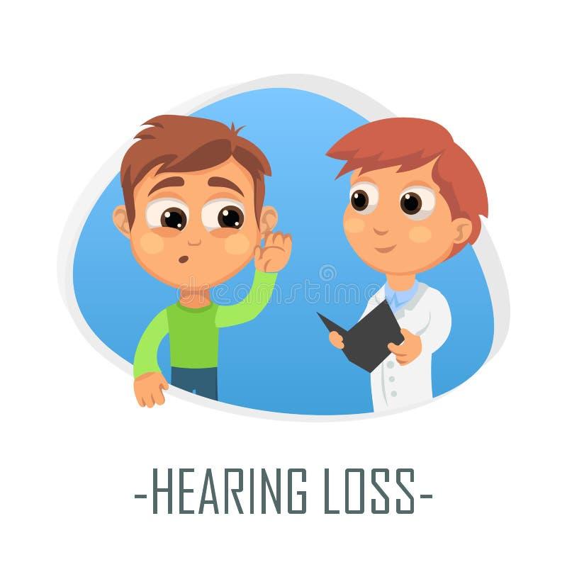 Concepto médico de la pérdida de oído Ilustración del vector stock de ilustración