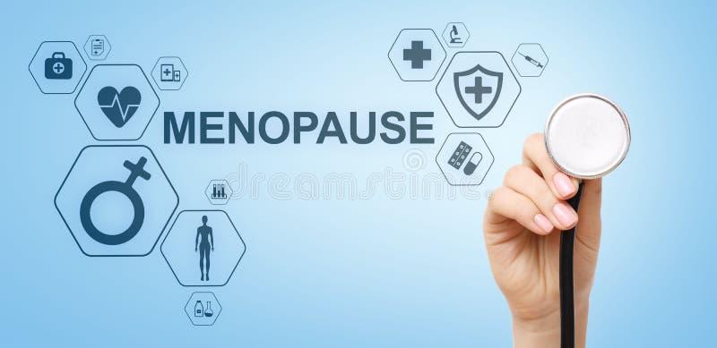 Concepto m?dico de la salud de las mujeres de la edad de la menopausia en la pantalla foto de archivo