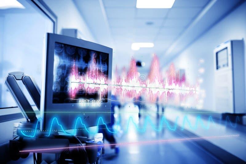 Concepto médico de la tecnología con un holograma de curvas y de gráficos imagenes de archivo