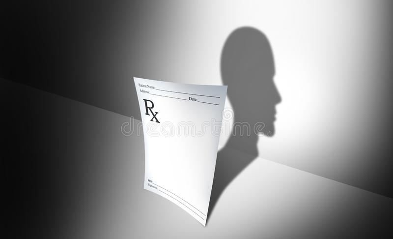 Concepto médico de las drogas psiquiátricas y salud mental libre illustration