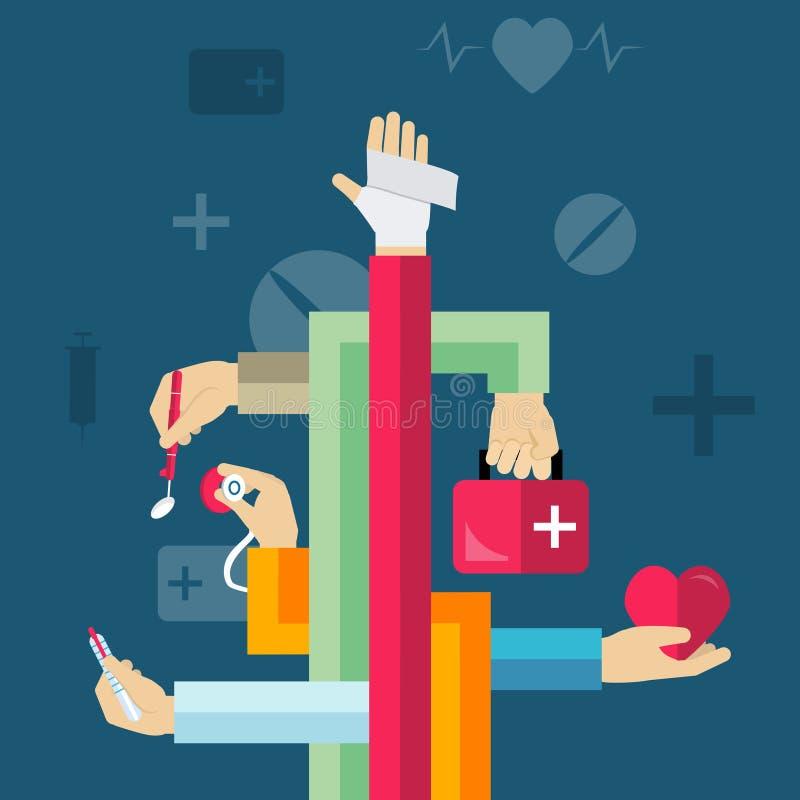 Concepto médico de las manos libre illustration
