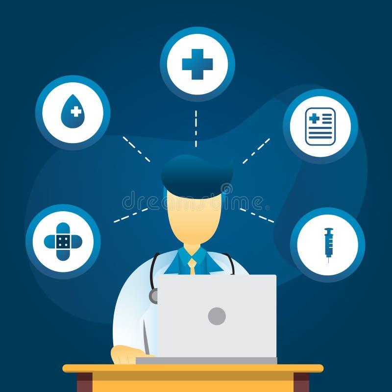 Concepto médico del ejemplo del plano de servicios onlines El doctor y el ordenador portátil con el sistema médico del icono, ele libre illustration