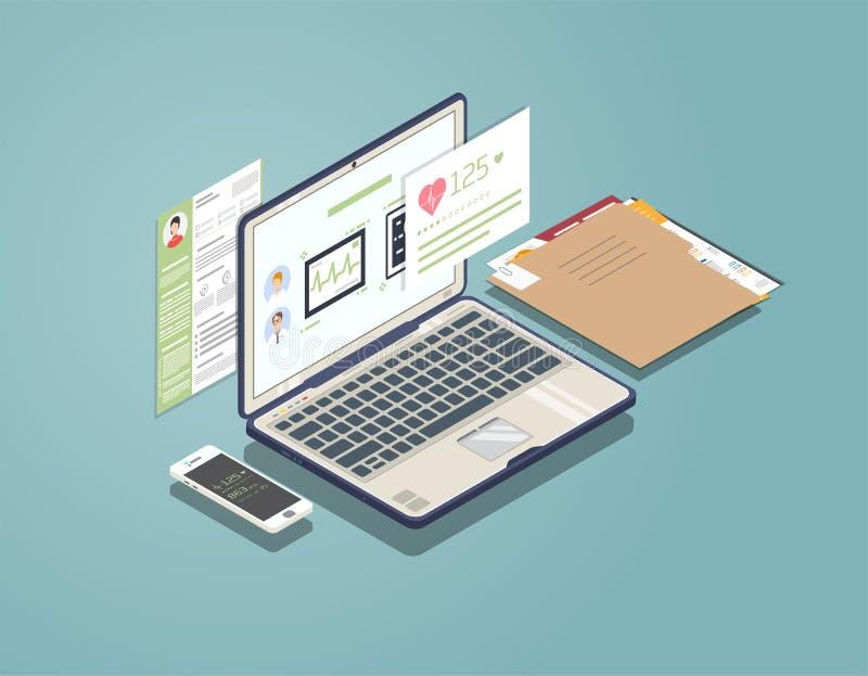 Concepto médico del ordenador portátil ilustración del vector
