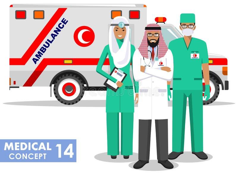 Concepto MÉDICO Ejemplo detallado del hombre del paramédico, del doctor de la emergencia, de la enfermera y del coche musulmanes  stock de ilustración
