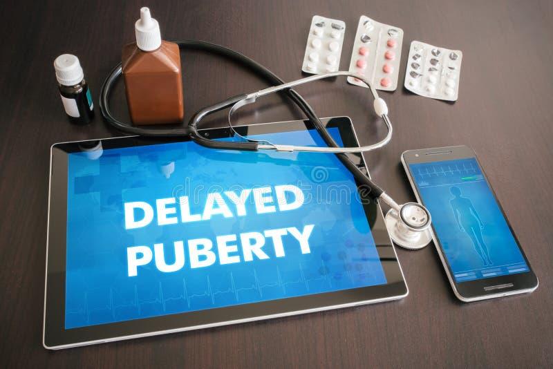 Concepto médico retrasado de la diagnosis de la pubertad (enfermedad endocrina) encendido imagenes de archivo